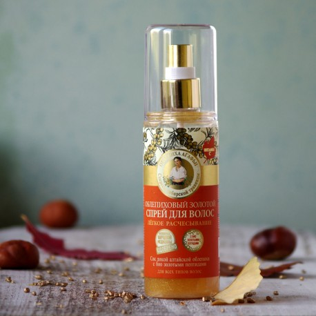 Złoty rokitnikowy spray do włosów ułatwiający rozczesywanie