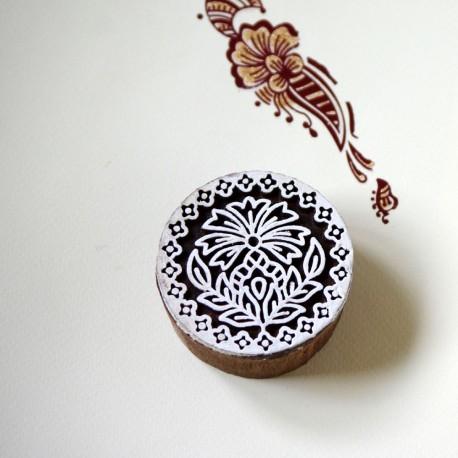 Drewniany stempel - rozetka flora