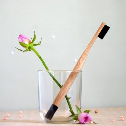 Czarna bambusowa szczoteczka do zębów średnia - mohani