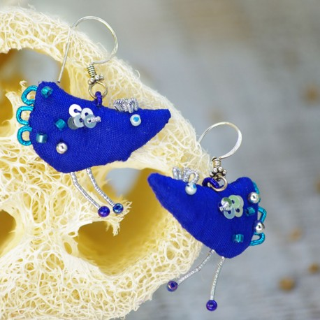Kolczyki jedwabne - niebieskie ptaki